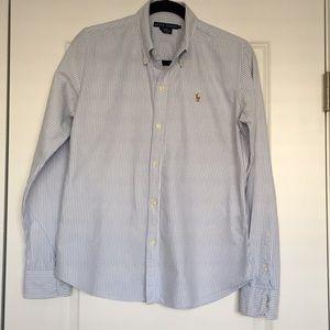 Blue & White Striped Oxford Shirt